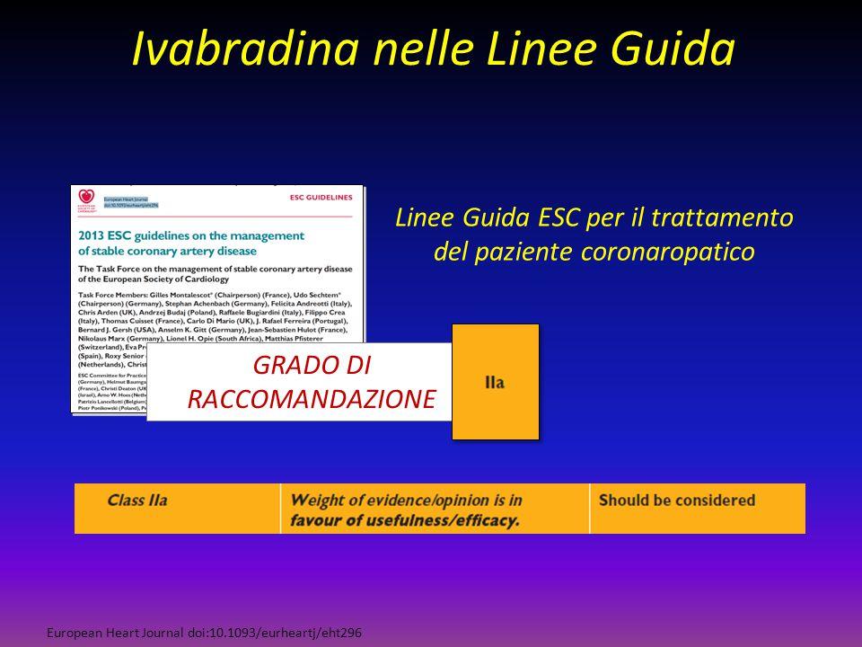 Ivabradina nelle Linee Guida European Heart Journal doi:10.1093/eurheartj/eht296 Linee Guida ESC per il trattamento del paziente coronaropatico GRADO
