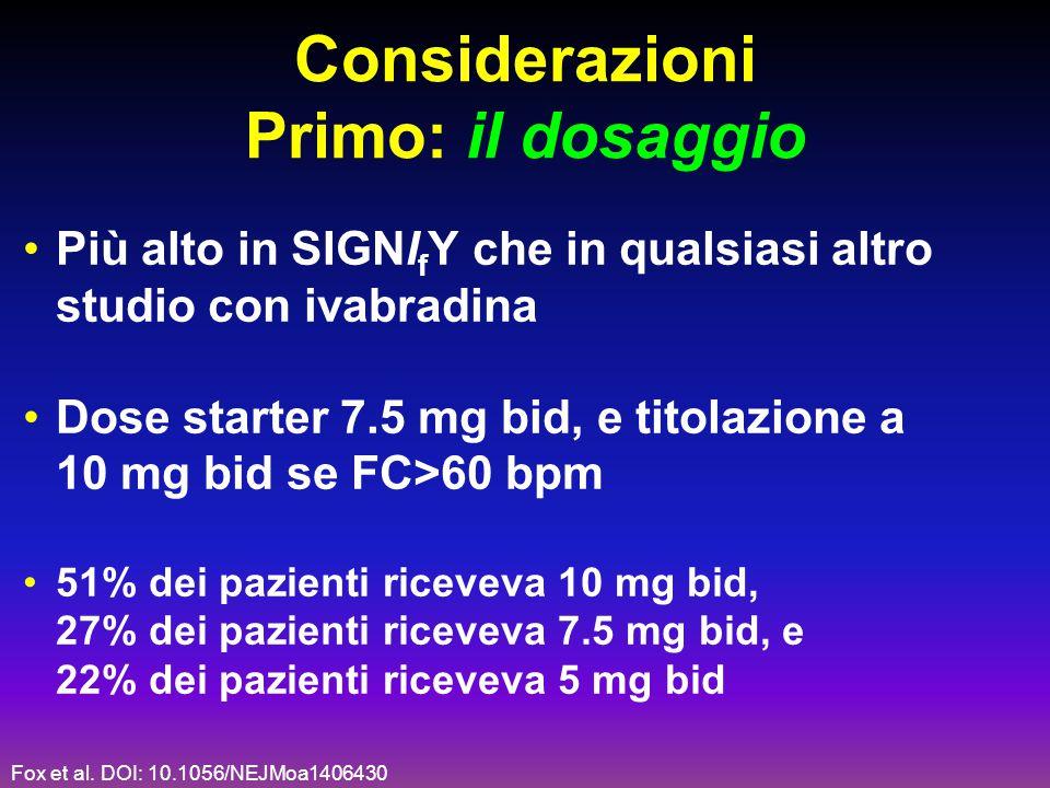 Considerazioni Primo: il dosaggio Più alto in SIGNI f Y che in qualsiasi altro studio con ivabradina Dose starter 7.5 mg bid, e titolazione a 10 mg bi
