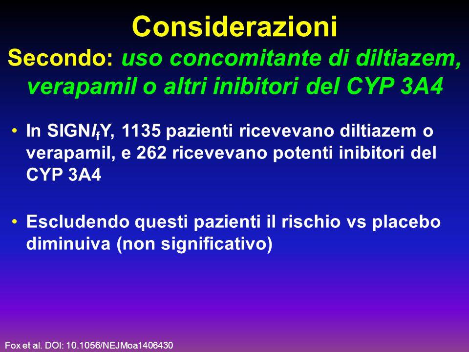 Considerazioni Secondo: uso concomitante di diltiazem, verapamil o altri inibitori del CYP 3A4 In SIGNI f Y, 1135 pazienti ricevevano diltiazem o vera