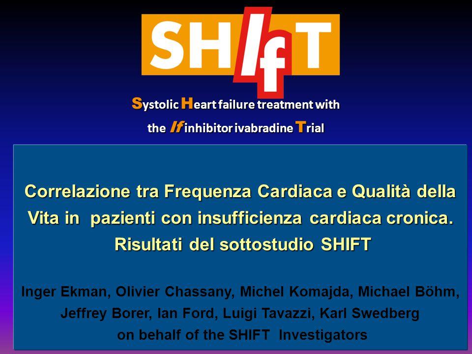Correlazione tra Frequenza Cardiaca e Qualità della Vita in pazienti con insufficienza cardiaca cronica. Risultati del sottostudio SHIFT Risultati del