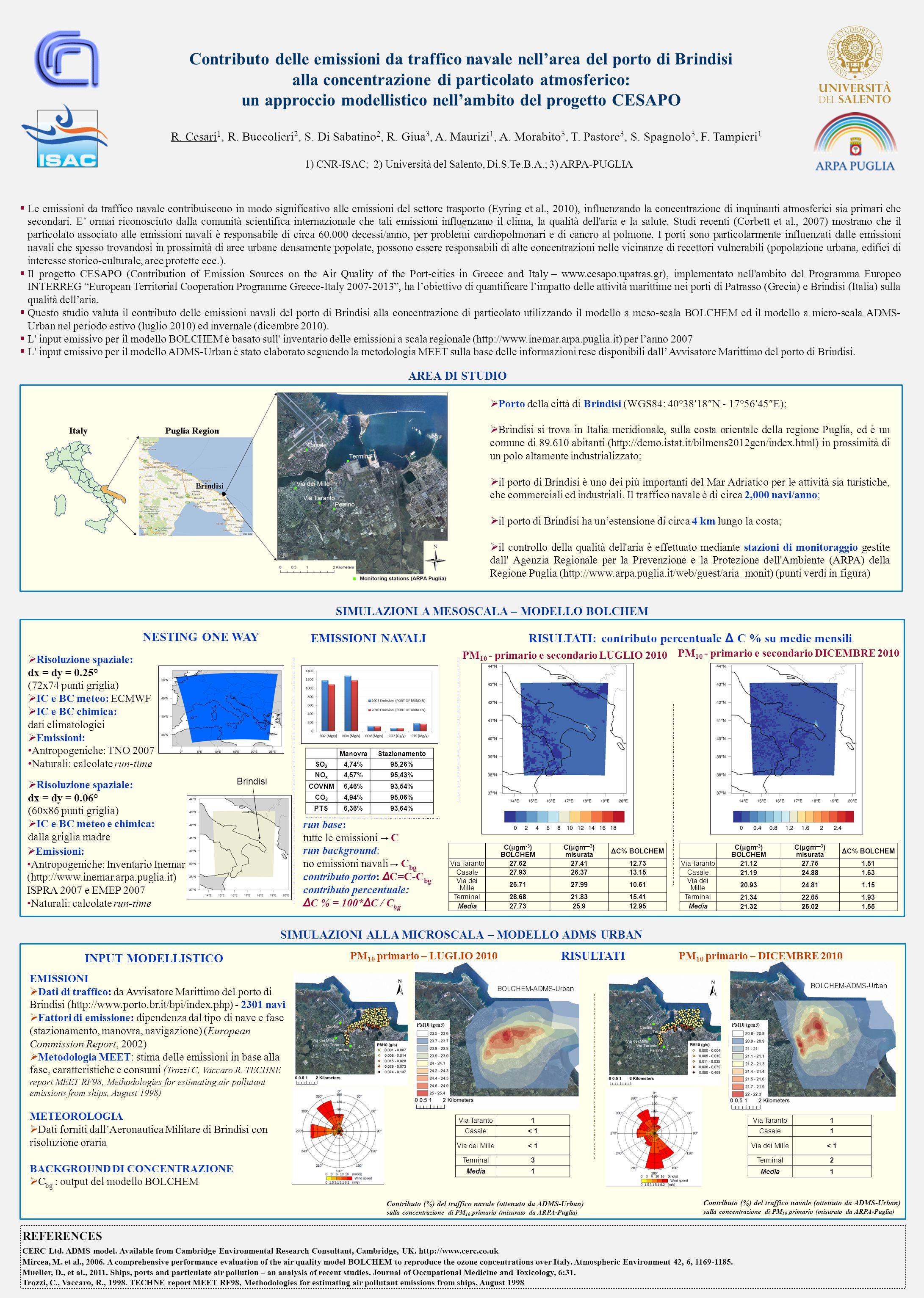 Contributo delle emissioni da traffico navale nell'area del porto di Brindisi alla concentrazione di particolato atmosferico: un approccio modellistico nell'ambito del progetto CESAPO R.