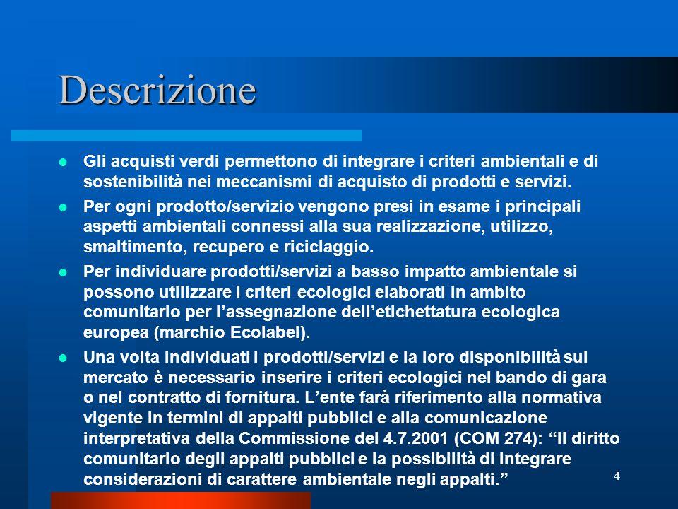 3 Obiettivi del progetto Introduzione di criteri ambientali nelle politiche di acquisto di beni e servizi Sostenibilità ambientale nelle gare d'appalto e nei capitolati del Comune Gestione eco-compatibile degli edifici pubblici