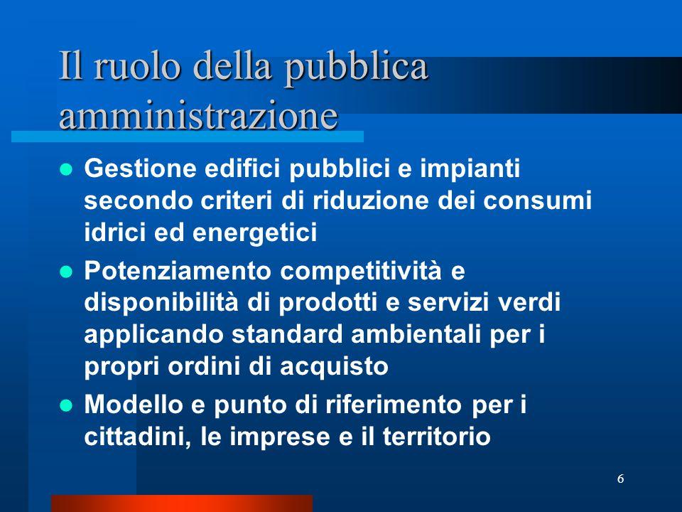 5 Normativa di riferimento Con la deliberazione del CIPE n.57 del 2.8.2002 gli acquisti verdi sono stati individuati come uno tra gli strumenti più importanti per l'attuazione dei principi della Strategia d'azione ambientale per lo sviluppo sostenibile in Italia .