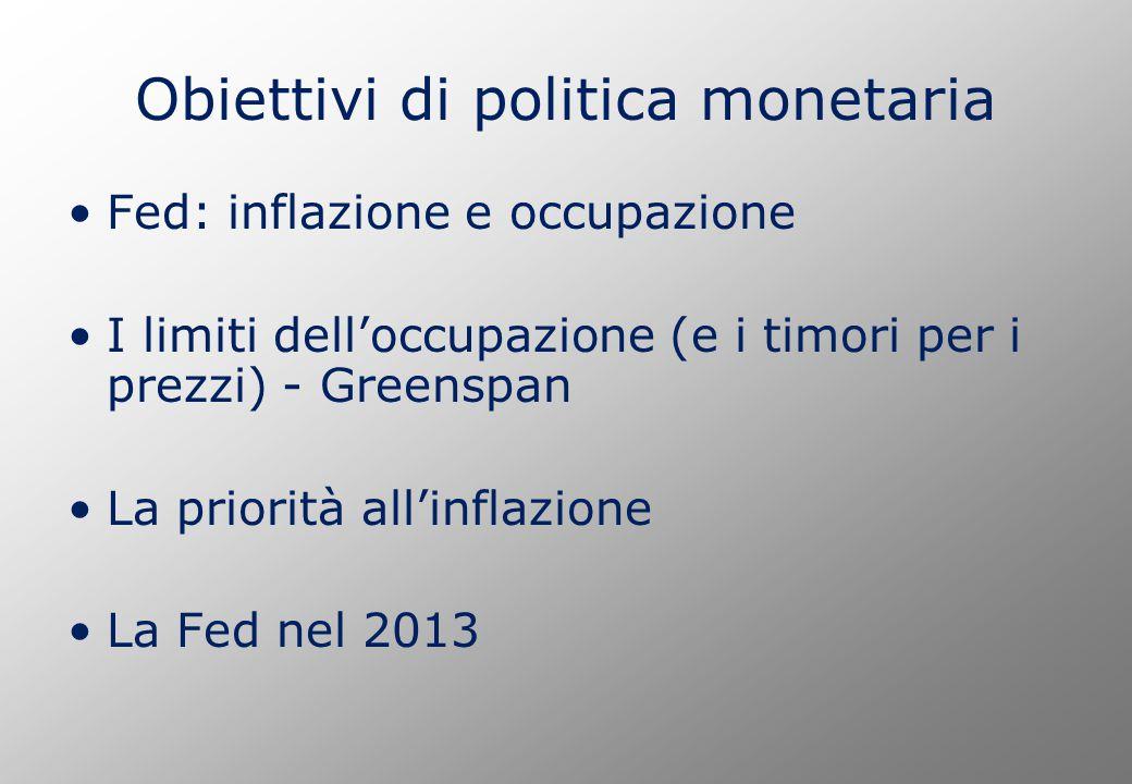 Obiettivi di politica monetaria Fed: inflazione e occupazione I limiti dell'occupazione (e i timori per i prezzi) - Greenspan La priorità all'inflazione La Fed nel 2013