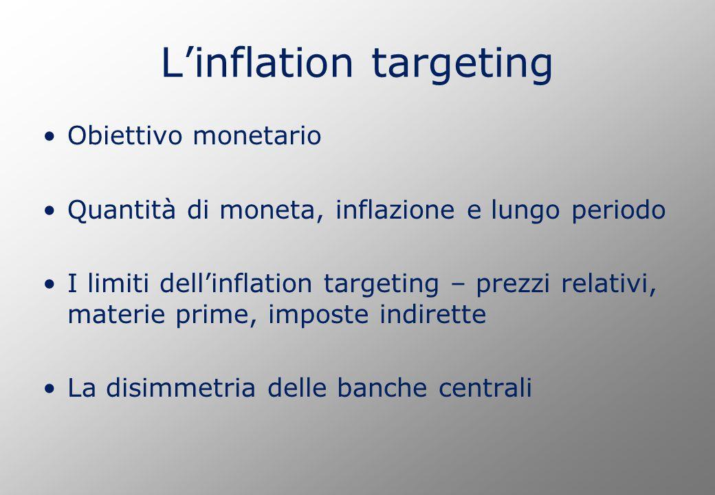 L'inflation targeting Obiettivo monetario Quantità di moneta, inflazione e lungo periodo I limiti dell'inflation targeting – prezzi relativi, materie prime, imposte indirette La disimmetria delle banche centrali