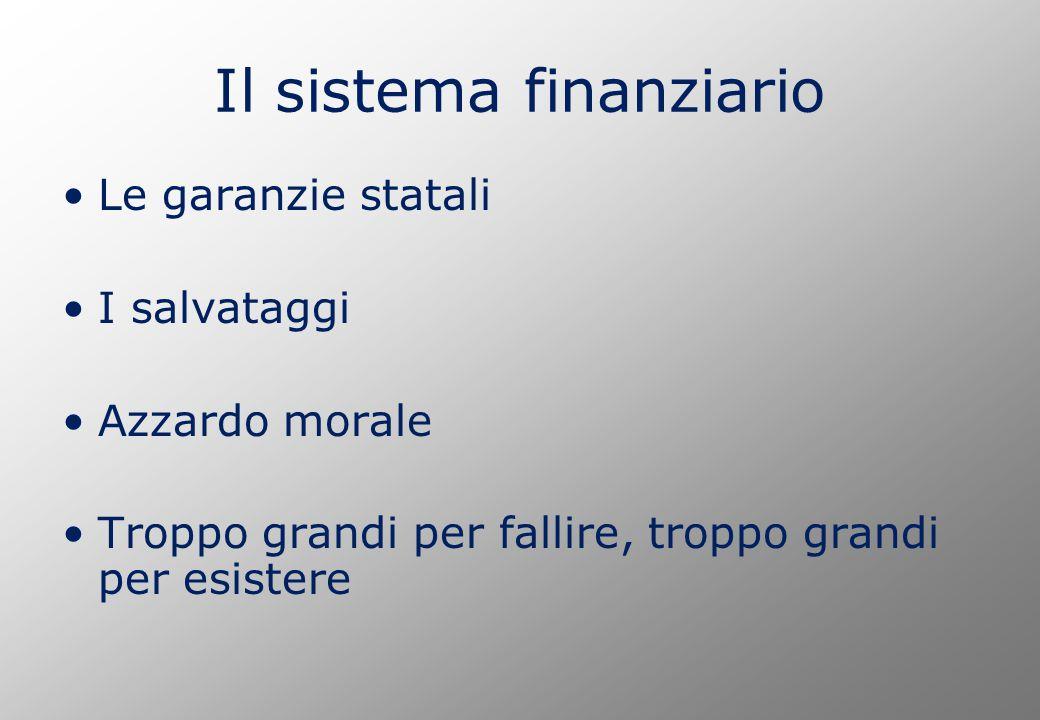 Il sistema finanziario Le garanzie statali I salvataggi Azzardo morale Troppo grandi per fallire, troppo grandi per esistere