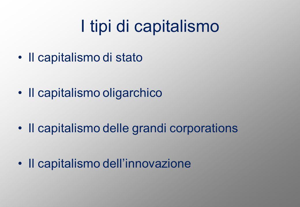 I tipi di capitalismo Il capitalismo di stato Il capitalismo oligarchico Il capitalismo delle grandi corporations Il capitalismo dell'innovazione