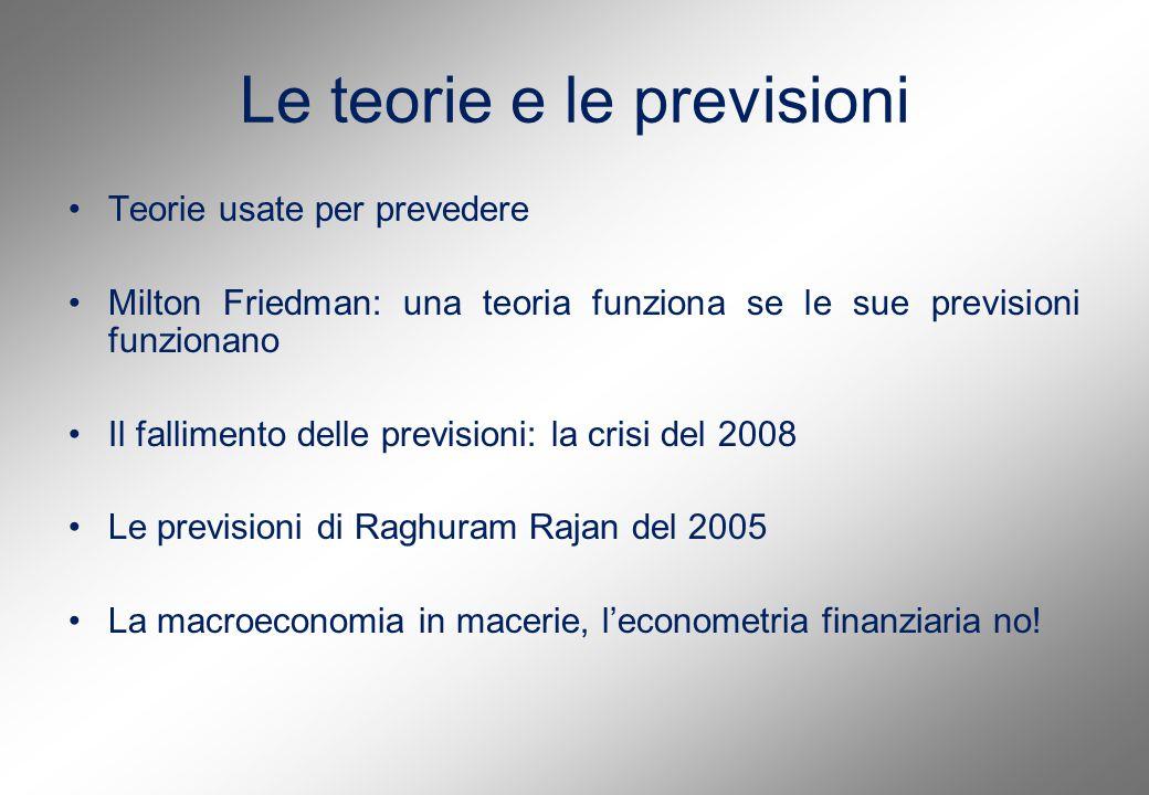 Le teorie e le previsioni Teorie usate per prevedere Milton Friedman: una teoria funziona se le sue previsioni funzionano Il fallimento delle previsioni: la crisi del 2008 Le previsioni di Raghuram Rajan del 2005 La macroeconomia in macerie, l'econometria finanziaria no!