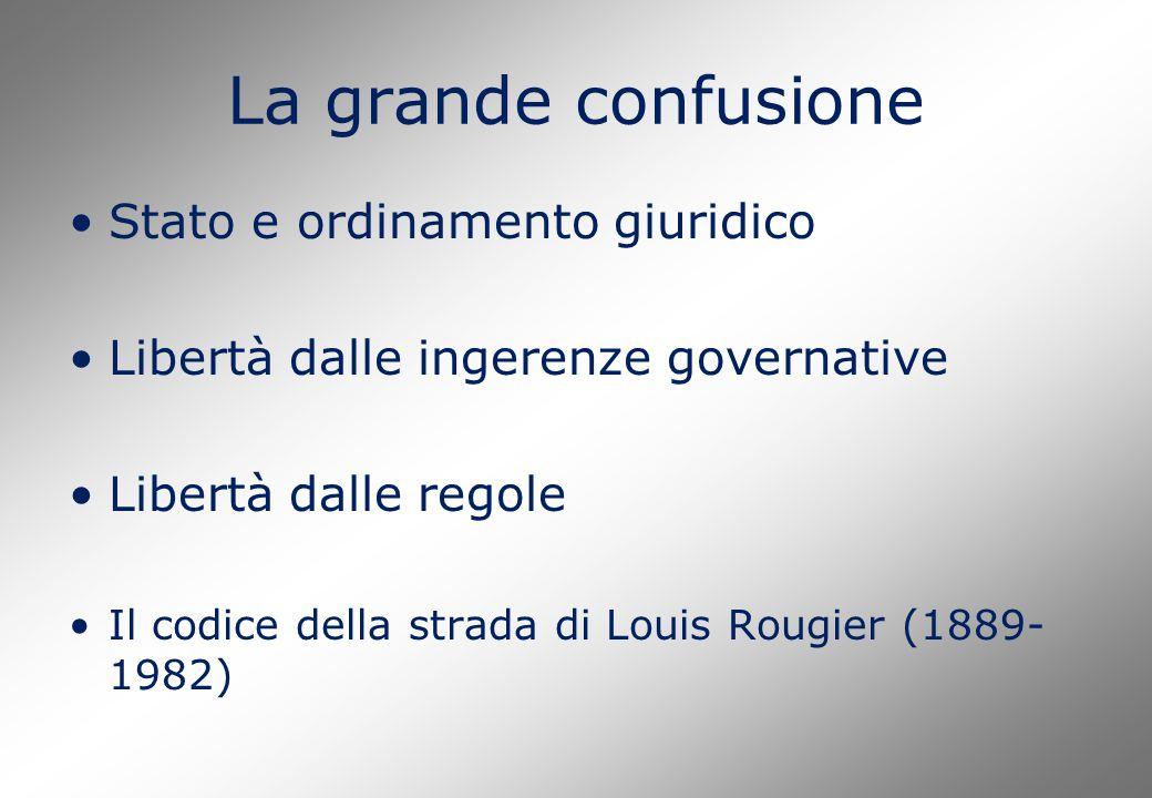 La grande confusione Stato e ordinamento giuridico Libertà dalle ingerenze governative Libertà dalle regole Il codice della strada di Louis Rougier (1889- 1982)