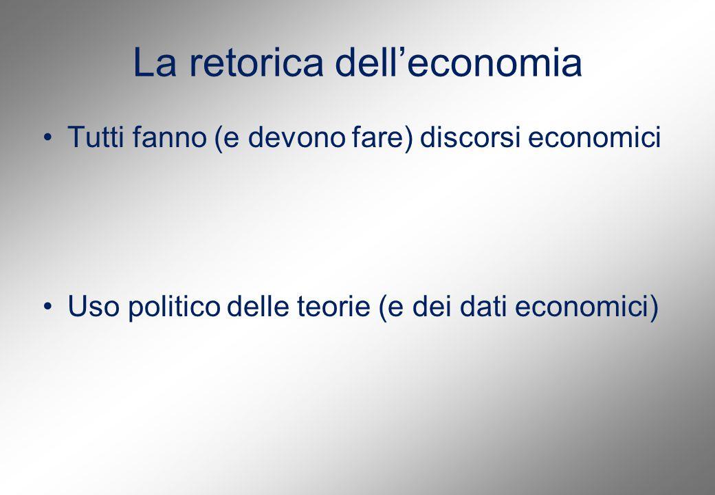 La retorica dell'economia Tutti fanno (e devono fare) discorsi economici Uso politico delle teorie (e dei dati economici)