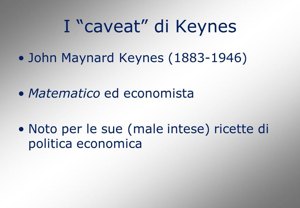 I caveat di Keynes John Maynard Keynes (1883-1946) Matematico ed economista Noto per le sue (male intese) ricette di politica economica