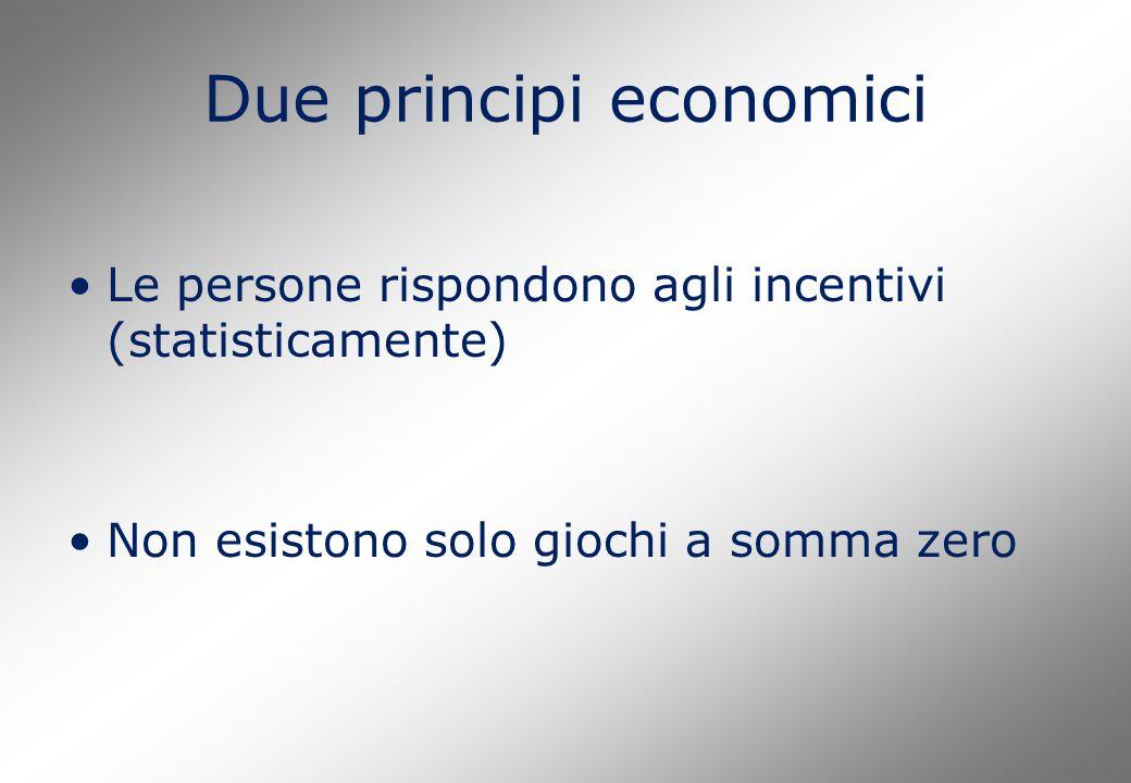 Due principi economici Le persone rispondono agli incentivi (statisticamente) Non esistono solo giochi a somma zero