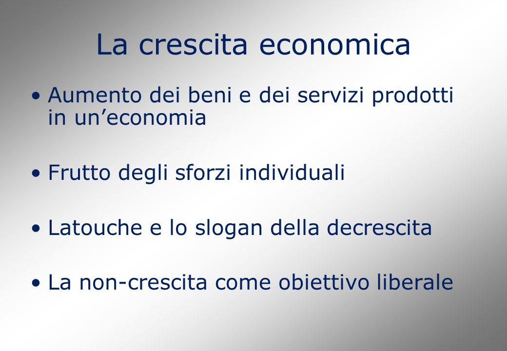 La crescita economica Aumento dei beni e dei servizi prodotti in un'economia Frutto degli sforzi individuali Latouche e lo slogan della decrescita La non-crescita come obiettivo liberale