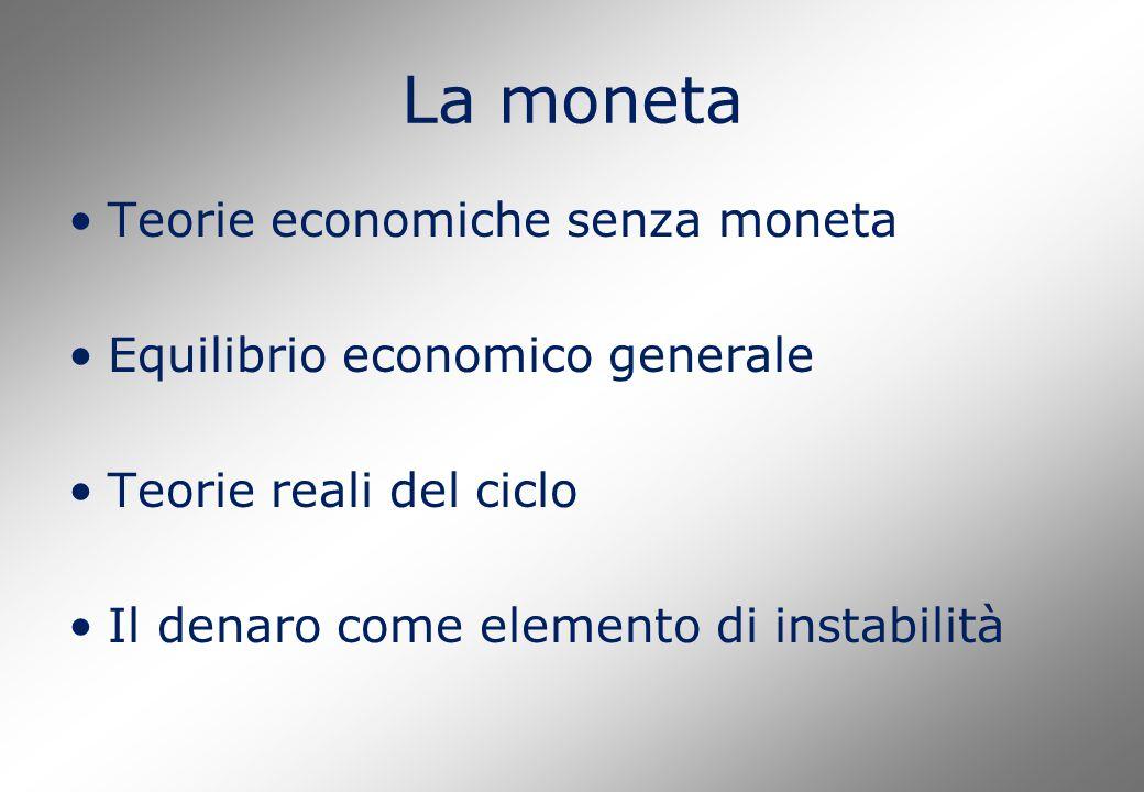La moneta Teorie economiche senza moneta Equilibrio economico generale Teorie reali del ciclo Il denaro come elemento di instabilità