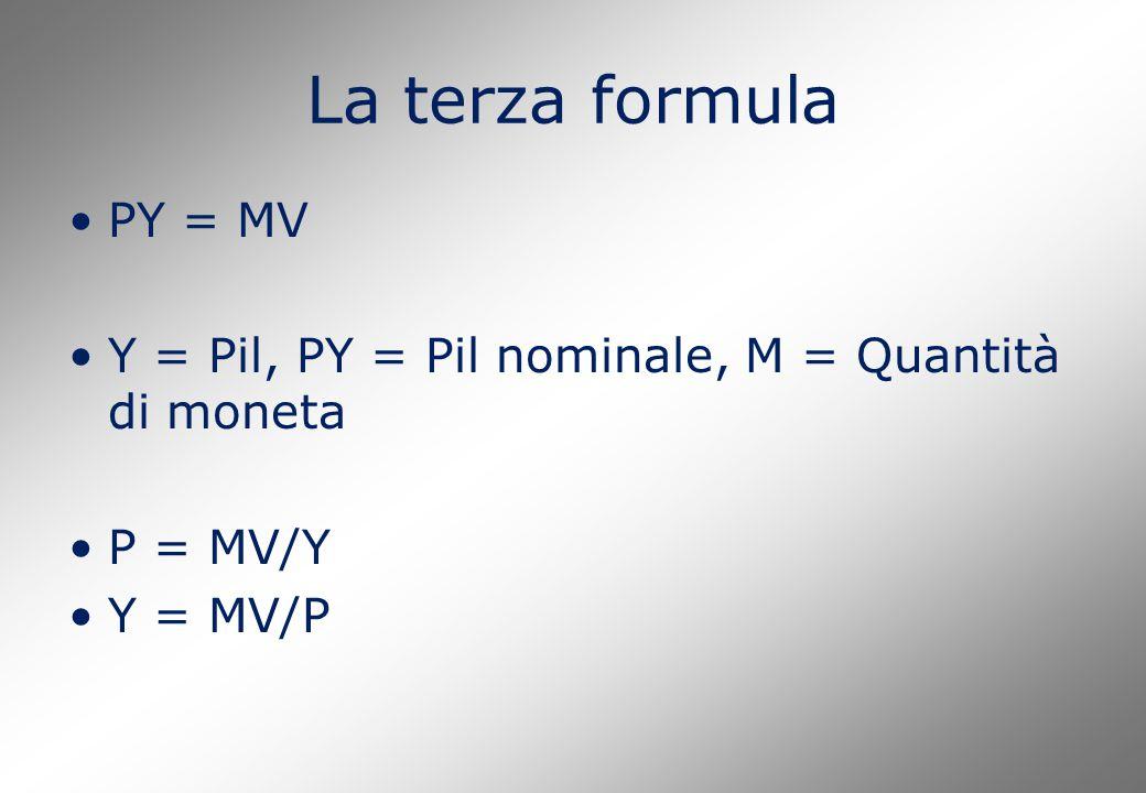 La terza formula PY = MV Y = Pil, PY = Pil nominale, M = Quantità di moneta P = MV/Y Y = MV/P