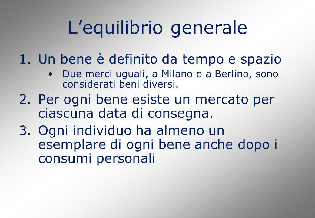 L'equilibrio generale 1.Un bene è definito da tempo e spazio Due merci uguali, a Milano o a Berlino, sono considerati beni diversi.