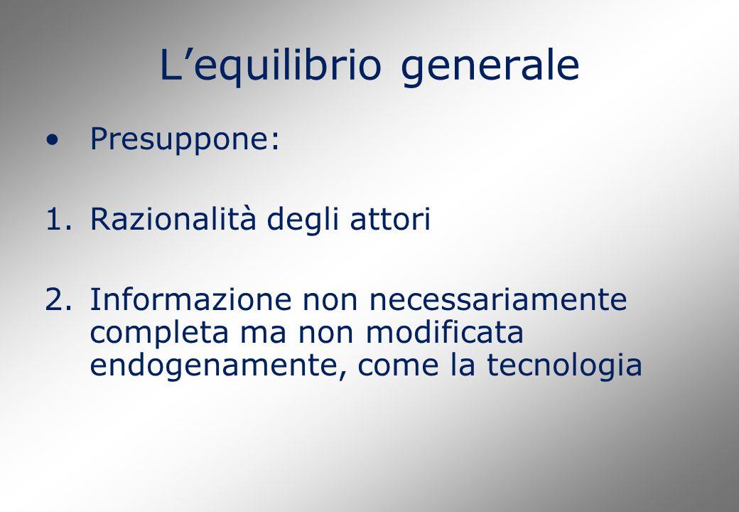 L'equilibrio generale Presuppone: 1.Razionalità degli attori 2.Informazione non necessariamente completa ma non modificata endogenamente, come la tecnologia