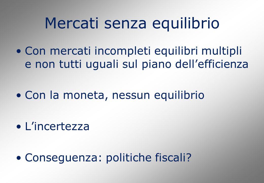 Mercati senza equilibrio Con mercati incompleti equilibri multipli e non tutti uguali sul piano dell'efficienza Con la moneta, nessun equilibrio L'incertezza Conseguenza: politiche fiscali
