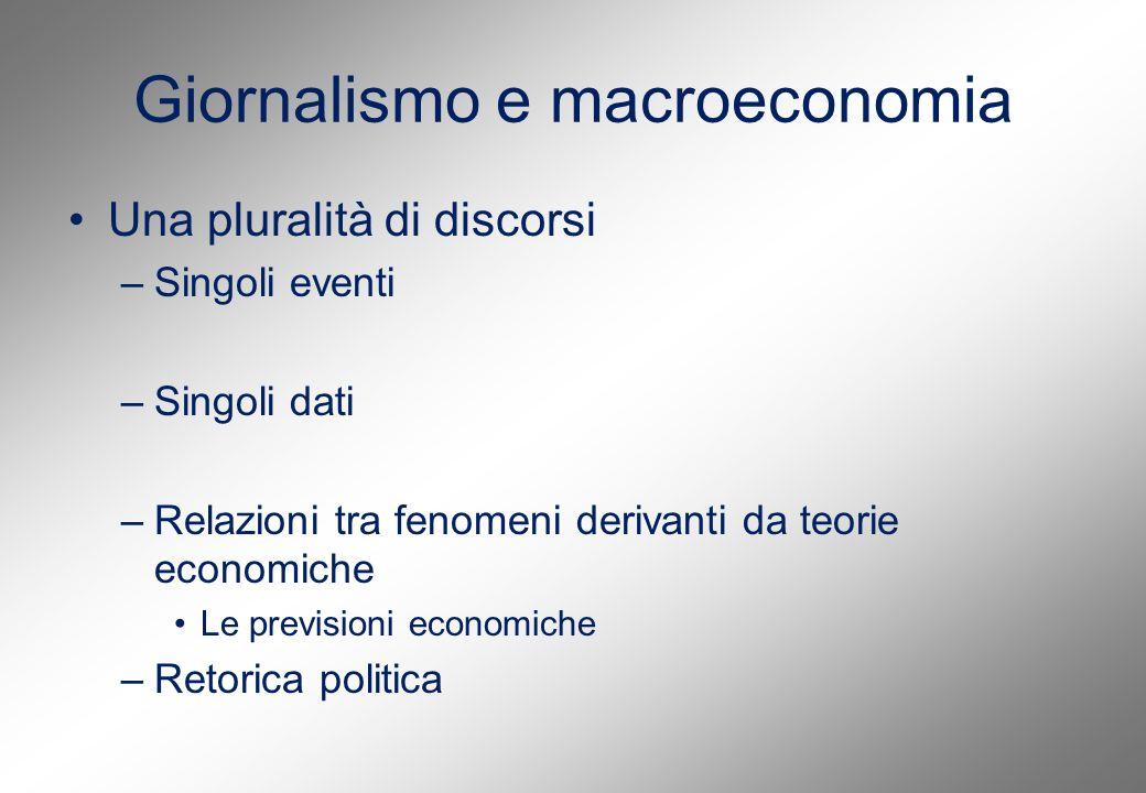 Giornalismo e macroeconomia Una pluralità di discorsi –Singoli eventi –Singoli dati –Relazioni tra fenomeni derivanti da teorie economiche Le previsioni economiche –Retorica politica