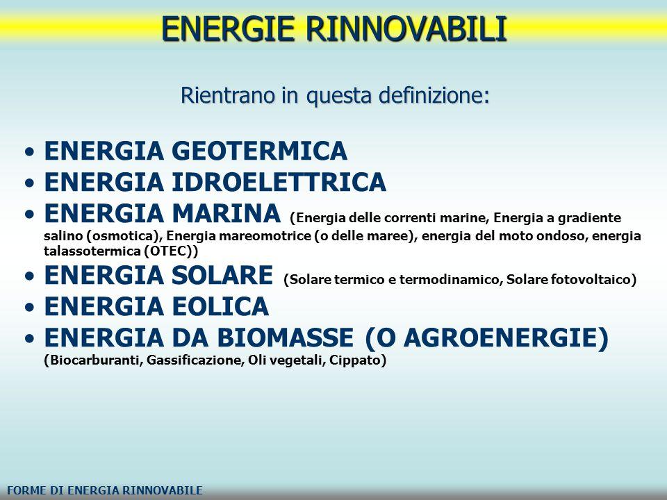 ENERGIE RINNOVABILI FORME DI ENERGIA RINNOVABILE Rientrano in questa definizione: ENERGIA GEOTERMICA ENERGIA IDROELETTRICA ENERGIA MARINA (Energia del