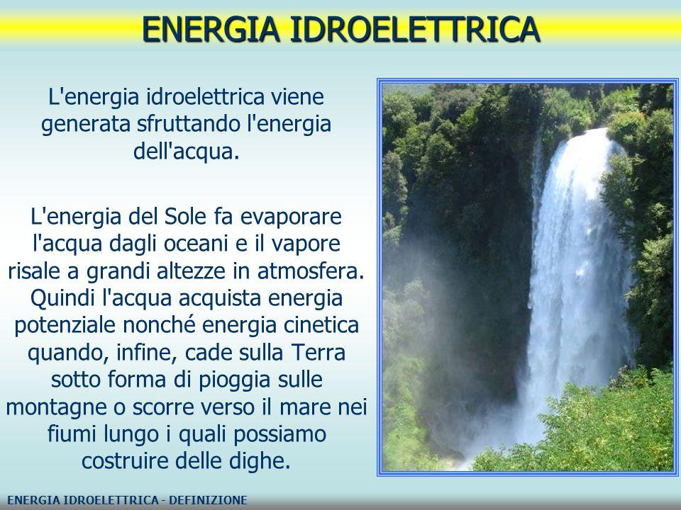 L'energia idroelettrica viene generata sfruttando l'energia dell'acqua. L'energia del Sole fa evaporare l'acqua dagli oceani e il vapore risale a gran