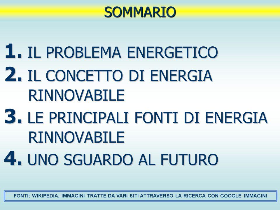 1. IL PROBLEMA ENERGETICO 2. IL CONCETTO DI ENERGIA RINNOVABILE 3. LE PRINCIPALI FONTI DI ENERGIA RINNOVABILE 4. UNO SGUARDO AL FUTURO SOMMARIO FONTI: