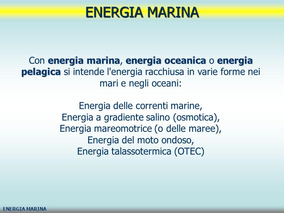 energia marinaenergia oceanicaenergia pelagica Con energia marina, energia oceanica o energia pelagica si intende l'energia racchiusa in varie forme n