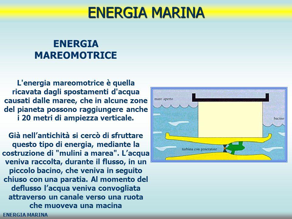 ENERGIA MARINA ENERGIA MAREOMOTRICE L'energia mareomotrice è quella ricavata dagli spostamenti d'acqua causati dalle maree, che in alcune zone del pia