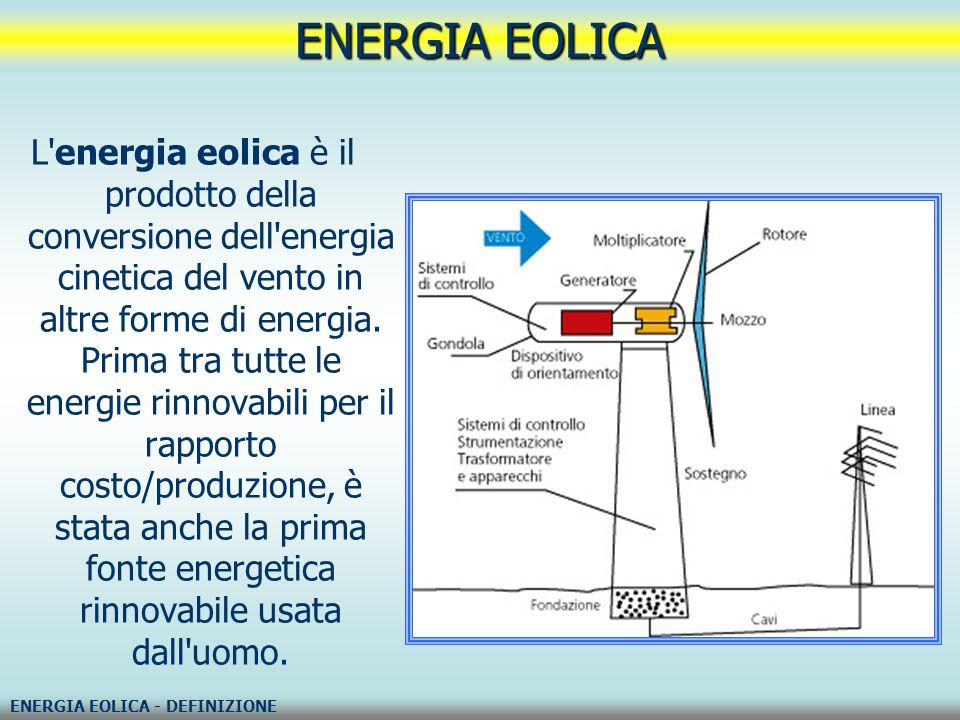 L'energia eolica è il prodotto della conversione dell'energia cinetica del vento in altre forme di energia. Prima tra tutte le energie rinnovabili per