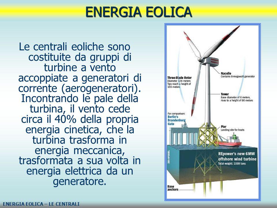 Le centrali eoliche sono costituite da gruppi di turbine a vento accoppiate a generatori di corrente (aerogeneratori). Incontrando le pale della turbi