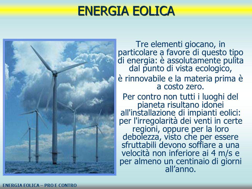 Tre elementi giocano, in particolare a favore di questo tipo di energia: è assolutamente pulita dal punto di vista ecologico, è rinnovabile e la mater