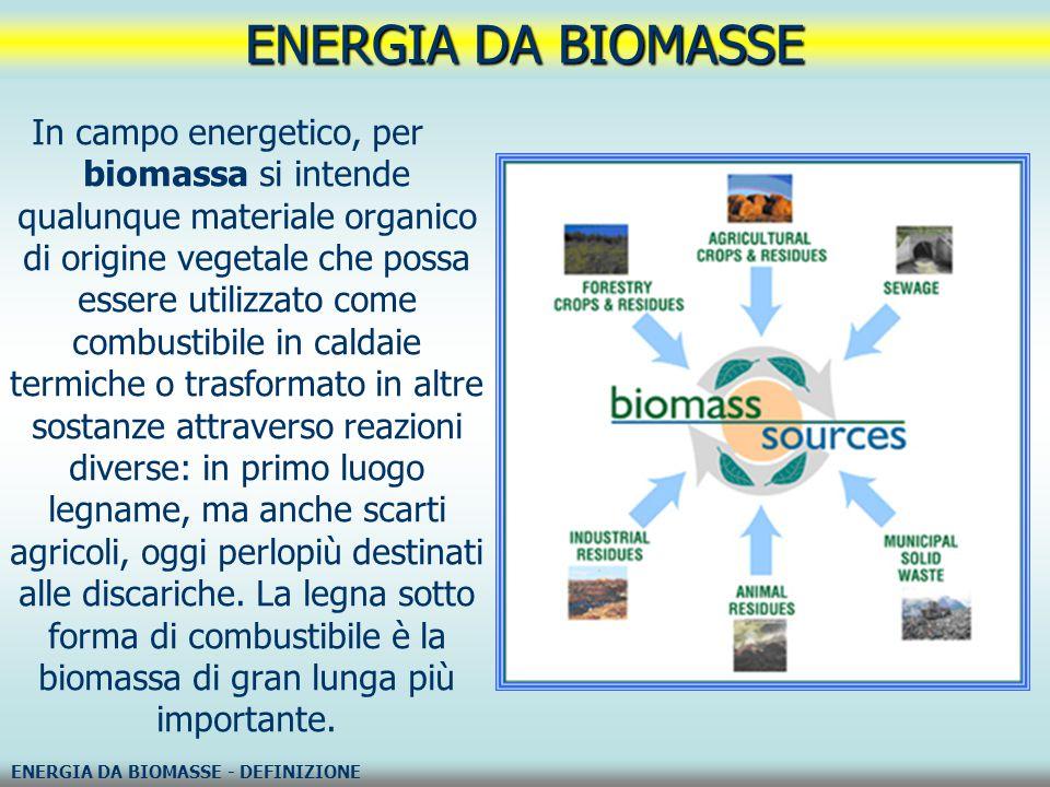 In campo energetico, per biomassa si intende qualunque materiale organico di origine vegetale che possa essere utilizzato come combustibile in caldaie