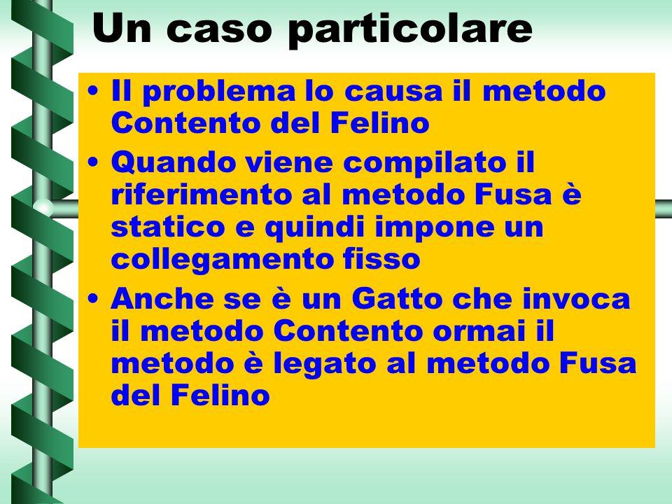Un caso particolare Il problema lo causa il metodo Contento del Felino Quando viene compilato il riferimento al metodo Fusa è statico e quindi impone