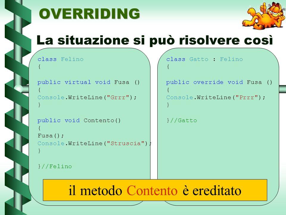 OVERRIDING La situazione si può risolvere così class Felino { public virtual void Fusa () { Console.WriteLine(