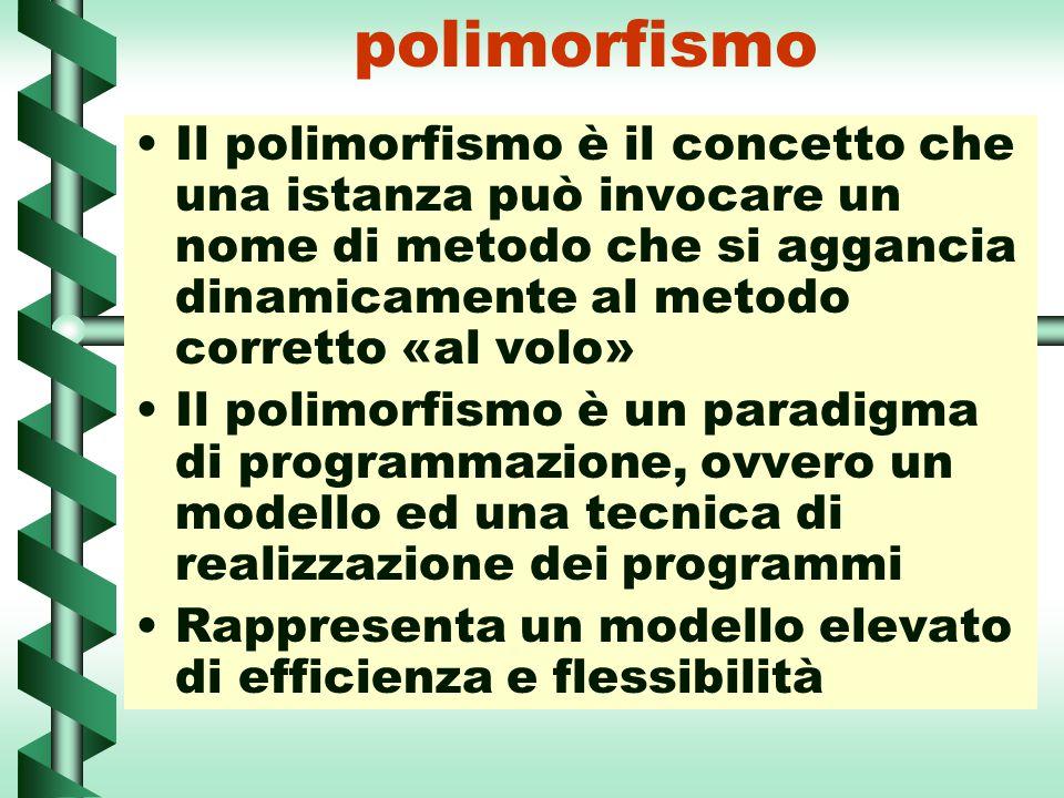 polimorfismo Il polimorfismo è il concetto che una istanza può invocare un nome di metodo che si aggancia dinamicamente al metodo corretto «al volo» I