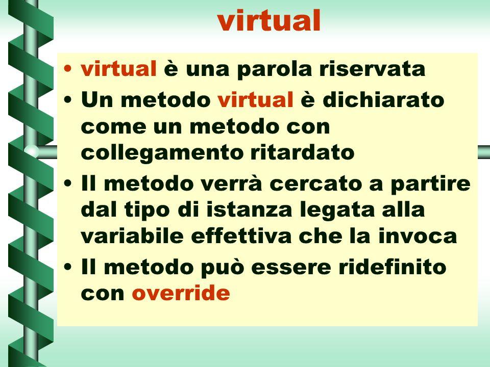virtual virtual è una parola riservata Un metodo virtual è dichiarato come un metodo con collegamento ritardato Il metodo verrà cercato a partire dal