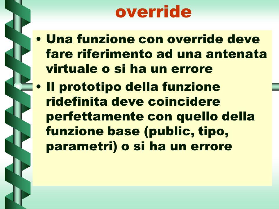 override Una funzione con override deve fare riferimento ad una antenata virtuale o si ha un errore Il prototipo della funzione ridefinita deve coinci