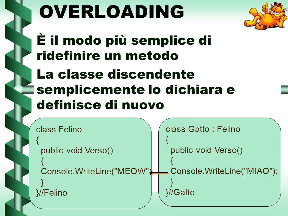 OVERLOADING È il modo più semplice di ridefinire un metodo Il metodo è legato staticamente Il f1 chiama il verso del Felino Il g1 chiama il verso del Gatto Felino f1 = new Felino(); f1.Verso(); Gatto g1 = new Gatto(); g1.Verso(); MEOWMIAO