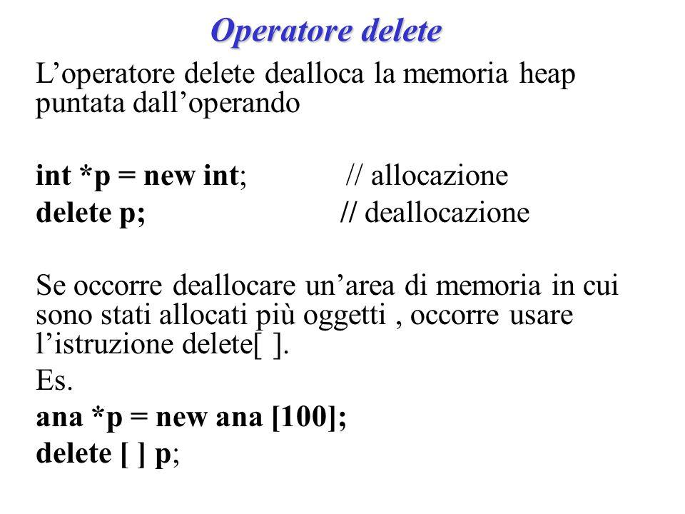 Operatore delete L'operatore delete dealloca la memoria heap puntata dall'operando int *p = new int; // allocazione delete p; // deallocazione Se occorre deallocare un'area di memoria in cui sono stati allocati più oggetti, occorre usare l'istruzione delete[ ].