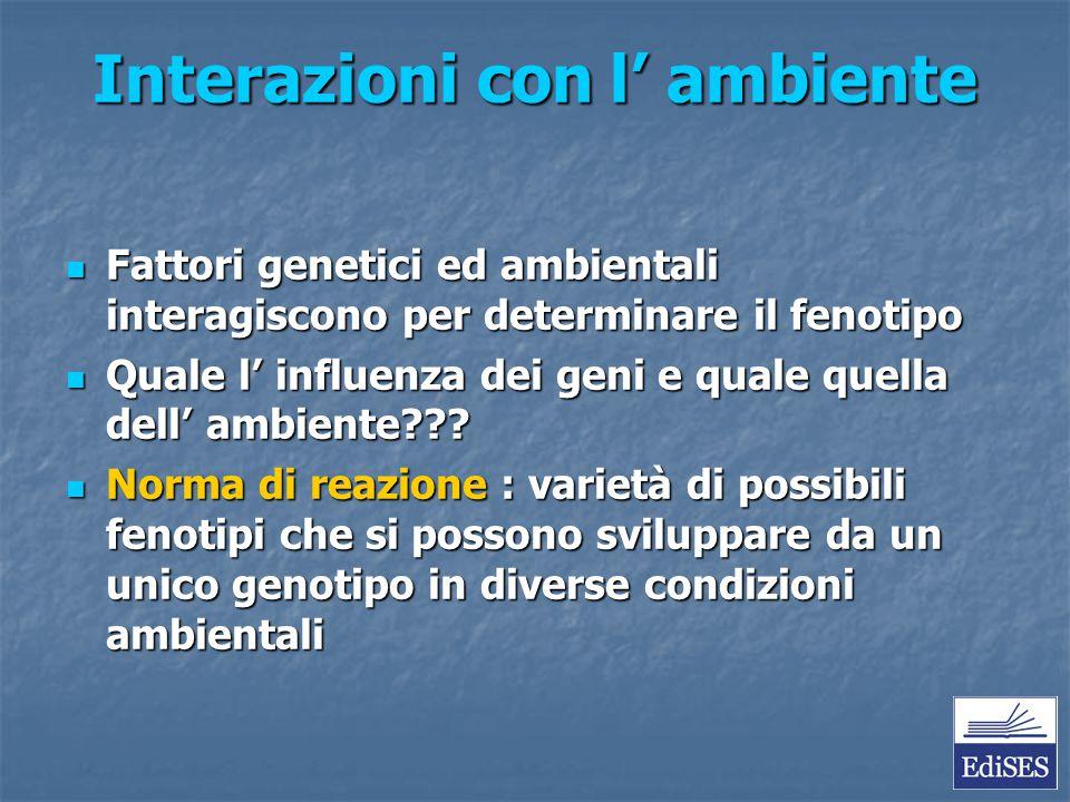 Interazioni con l' ambiente Fattori genetici ed ambientali interagiscono per determinare il fenotipo Fattori genetici ed ambientali interagiscono per