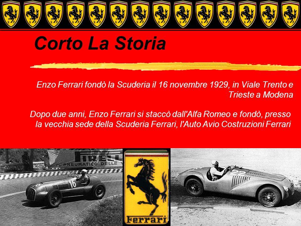 Corto La Storia Enzo Ferrari fondò la Scuderia il 16 novembre 1929, in Viale Trento e Trieste a Modena Dopo due anni, Enzo Ferrari si staccò dall Alfa Romeo e fondò, presso la vecchia sede della Scuderia Ferrari, l Auto Avio Costruzioni Ferrari