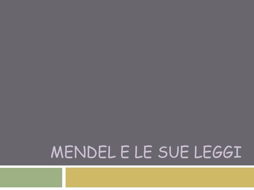 Terza legge di Mendel o dell'indipendenza  I diversi caratteri sono trasmessi alla discendenza in modo indipendente gli uni dagli altri