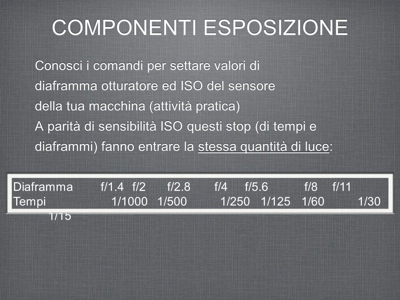 COMPONENTI ESPOSIZIONE Conosci i comandi per settare valori di diaframma otturatore ed ISO del sensore della tua macchina (attività pratica) A parità di sensibilità ISO questi stop (di tempi e diaframmi) fanno entrare la stessa quantità di luce: Conosci i comandi per settare valori di diaframma otturatore ed ISO del sensore della tua macchina (attività pratica) A parità di sensibilità ISO questi stop (di tempi e diaframmi) fanno entrare la stessa quantità di luce: Diaframma f/1.4 f/2 f/2.8 f/4 f/5.6 f/8 f/11 Tempi 1/1000 1/500 1/250 1/125 1/60 1/30 1/15