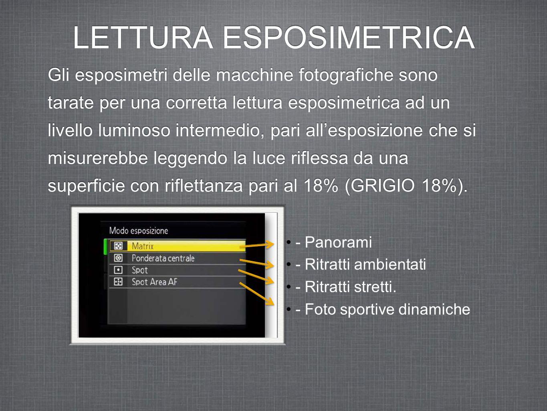 LETTURA ESPOSIMETRICA Gli esposimetri delle macchine fotografiche sono tarate per una corretta lettura esposimetrica ad un livello luminoso intermedio, pari all'esposizione che si misurerebbe leggendo la luce riflessa da una superficie con riflettanza pari al 18% (GRIGIO 18%).