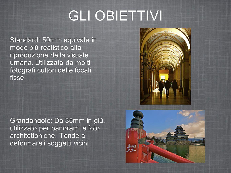GLI OBIETTIVI Standard: 50mm equivale in modo più realistico alla riproduzione della visuale umana.