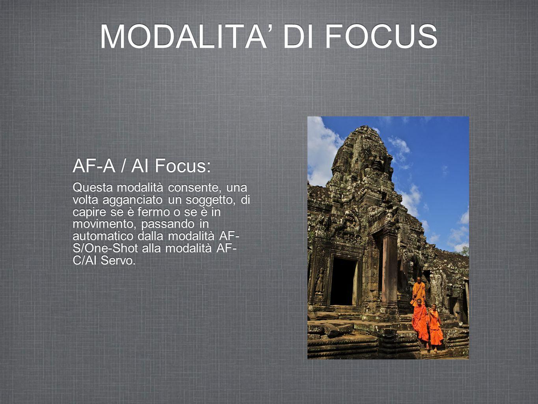 MODALITA' DI FOCUS AF-A / AI Focus: Questa modalità consente, una volta agganciato un soggetto, di capire se è fermo o se è in movimento, passando in automatico dalla modalità AF- S/One-Shot alla modalità AF- C/AI Servo.