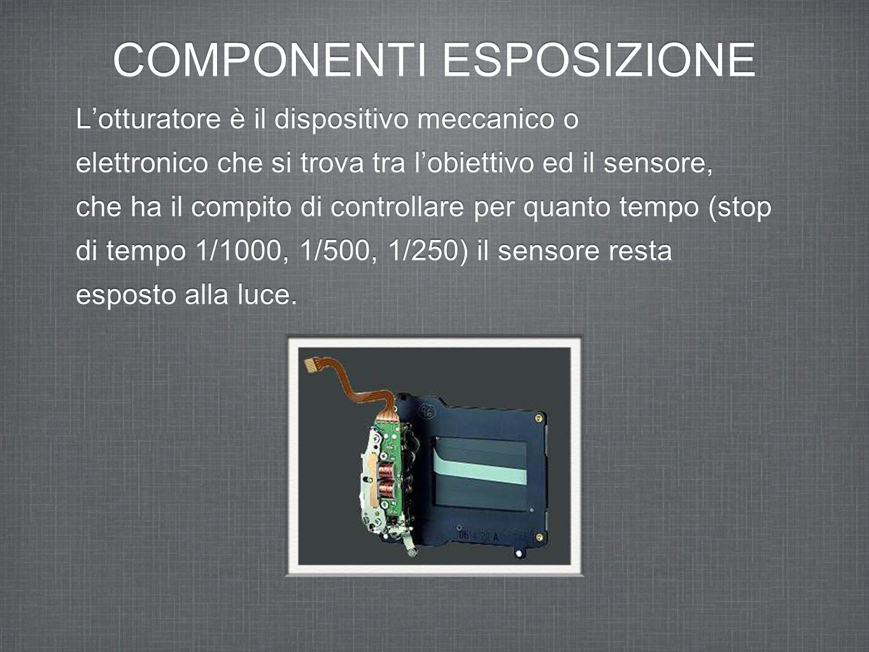 COMPONENTI ESPOSIZIONE L'otturatore è il dispositivo meccanico o elettronico che si trova tra l'obiettivo ed il sensore, che ha il compito di controllare per quanto tempo (stop di tempo 1/1000, 1/500, 1/250) il sensore resta esposto alla luce.