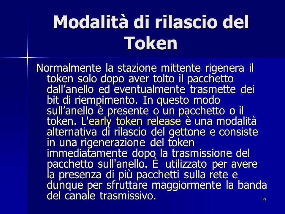 38 Modalità di rilascio del Token Normalmente la stazione mittente rigenera il token solo dopo aver tolto il pacchetto dall'anello ed eventualmente tr