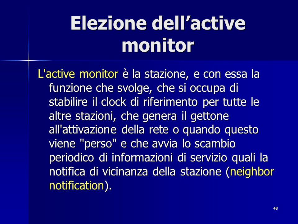 48 Elezione dell'active monitor L'active monitor è la stazione, e con essa la funzione che svolge, che si occupa di stabilire il clock di riferimento