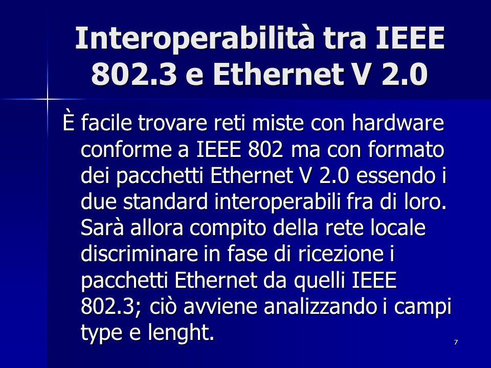 7 Interoperabilità tra IEEE 802.3 e Ethernet V 2.0 È facile trovare reti miste con hardware conforme a IEEE 802 ma con formato dei pacchetti Ethernet